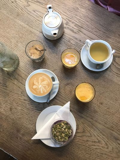 Coffee - Drink Table Coffee Cup Drink Breakfast Refreshment High Angle View Food And Drink Wood - Material Indoors  No People Day Food Freshness Ready-to-eat Close-up
