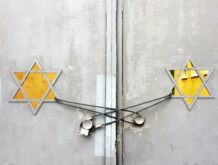 Low angle view on door of a synagogue