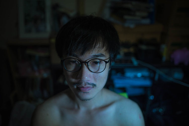 Childhood Close-up Day Eyeglasses  Focus On Foreground Headshot Indoors  Lifestyles One Person People Portrait Real People Shirtless Young Adult The Week On EyeEm