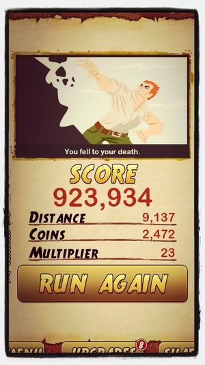 Highest score on Temple Run 2 smh it's hard.