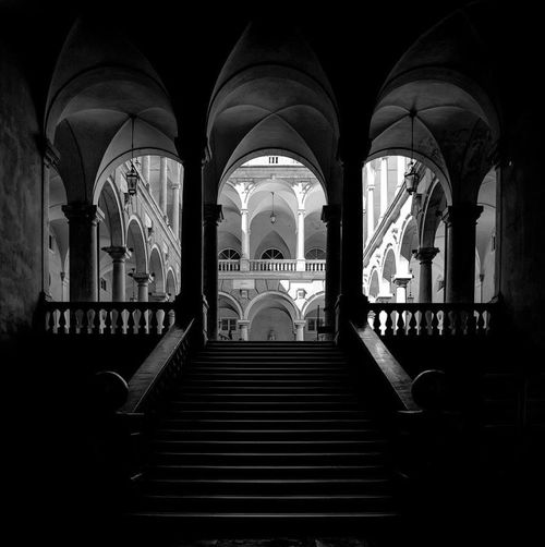 Blackandwhite Architecture Built Structure Arch Indoors  Building No People The Architect - 2018 EyeEm Awards The Past Spirituality Architectural Column Staircase The Way Forward Direction Night Religion History