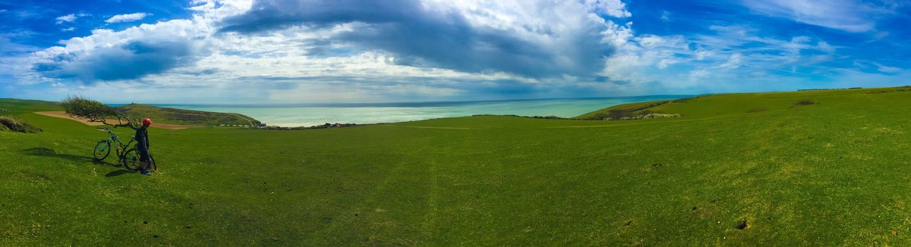 IPhoneography EyeEm Gallery EyeEm Iphonephotography Bike Biking MTB Cycling South Downs East Sussex Birling Gap Clouds And Sky Panoramic Cliff Clouds Panoramic Photography Me