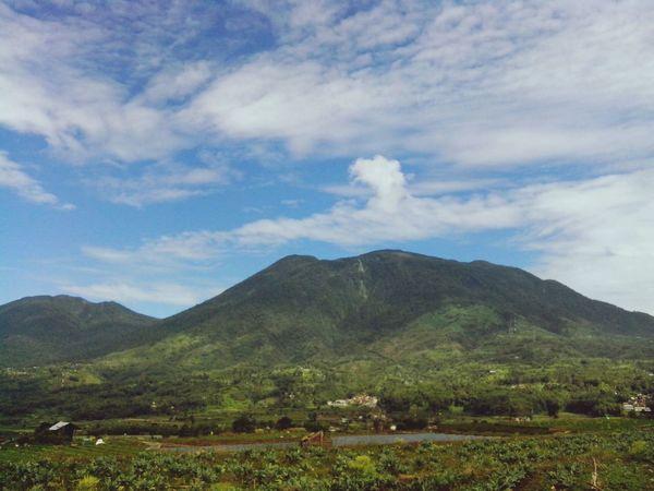 Mount Singgalang & Mount Tandikat (left), viewpoint from rice fields in Kayu Tanduak, X Koto, Sumbar Nature Sky Westsumatera Minangkabau