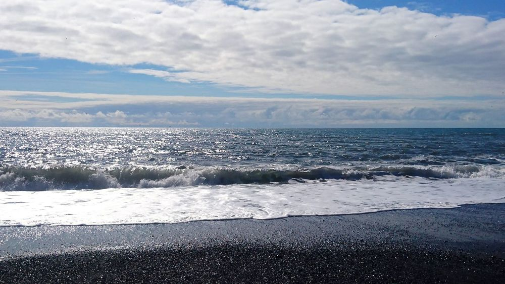 Iceland Black Sand Beach Idyllic Summer Ocean Wave Blue Sky Rural Scene Peace Urban Romantic Sunlight Backgrounds Background Cloud - Sky Black Beach Sea Beach Nature Horizon Over Water Beauty In Nature Outdoors Tranquility No People Day Scenics Landscape Travel Destinations Water Sky