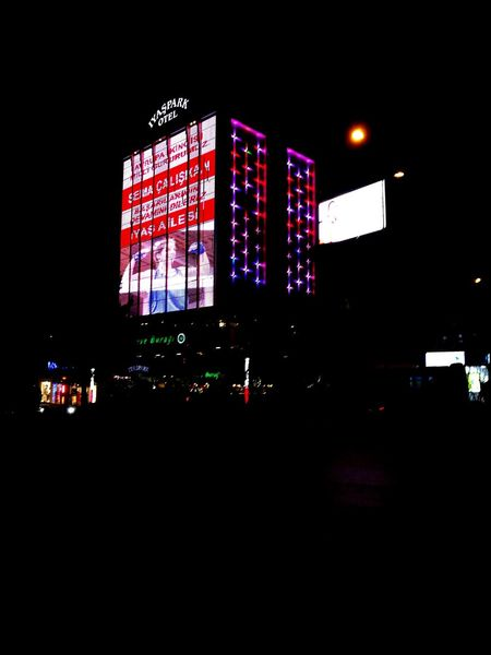 Isparta-ÇarşıLight And Shadow Lights Bright Colors Huaweiphotography Huawei P9 Leica Giantscreen Smalllight Brightspot Nightphotography Nigth  Vivid Colors Bigbuildings City Architecture No People Sky Outdoors Illuminated Reflection Square Turkey