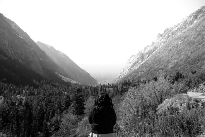 EyeEm Best Shots EyeEm Nature Lover Hiking Nature Nature Photography Peace Tranquility Adventure Blackandwhite Mountain One Person Outdoors Peaceful Real People Rear View Staring Into Distance Tree