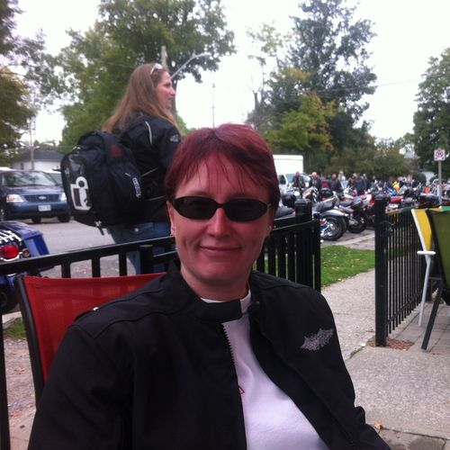 My first Port Dover Friday The 13th on my bike.Don't I look proud of myself :-) Ontario Motorcycles