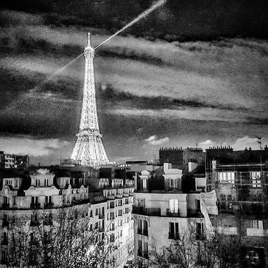 Paris Effeltower ParisByNight Blackandwhite Pictdrawing