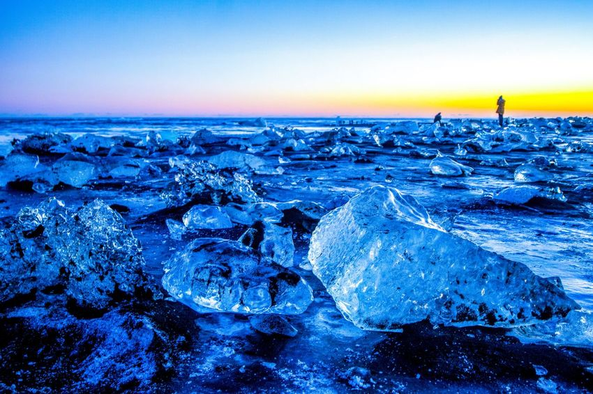 Diamond Beach Jökulsárlón Glacier Lagoon Iceland Ice Cube Icebergs Iceberg The Week On EyeEm Travel Photography Travel Destinations Iceland Jökulsárlón Beach Jökulsárlón Diamond Beach Sea Tranquility Beauty In Nature Tranquil Scene Nature Water Ice Cold Temperature Winter Sunset Blue Scenics Frozen Beach Outdoors Sky No People Landscape Horizon Over Water Day