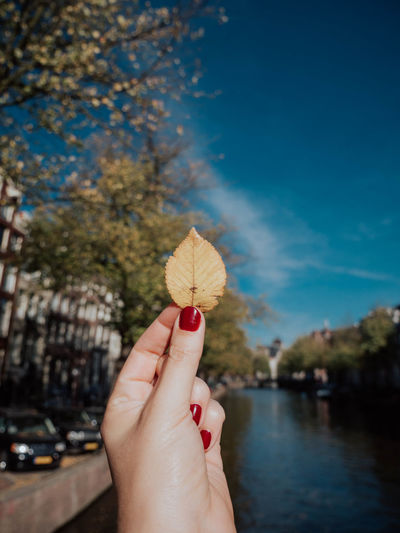 Fall is at my fingertips. Human Hand Hand Human Body Part Holding Finger Human Finger One Person Focus On Foreground Body Part Plant Real People Close-up Nature Women Personal Perspective Nail Polish Day Water Lifestyles Nail Outdoors Flower Human Limb Fall Fall Beauty