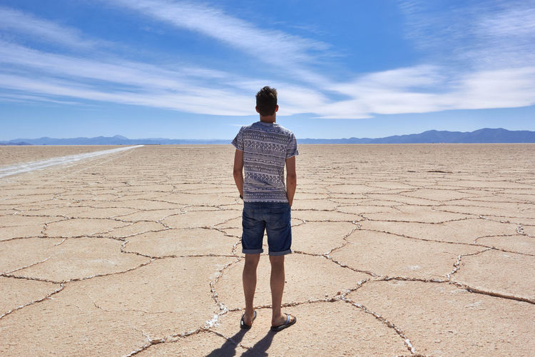 Rear view of man standing on dry land