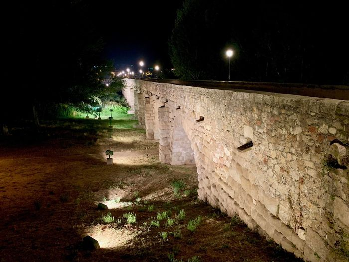 View of old house wall at night