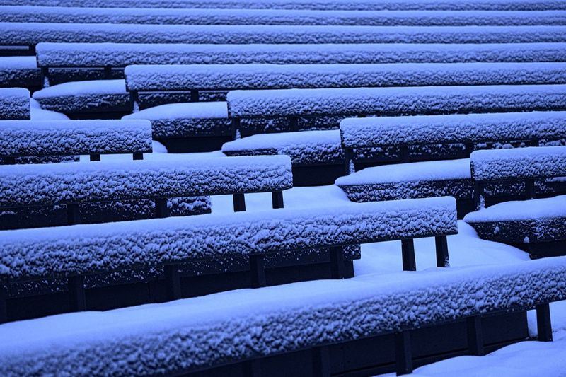 Seat Blue No People Large Group Of Objects Backgrounds Chair Nature Architecture In A Row Full Frame Outdoors Winter Day Abundance Empty Snow Absence Built Structure