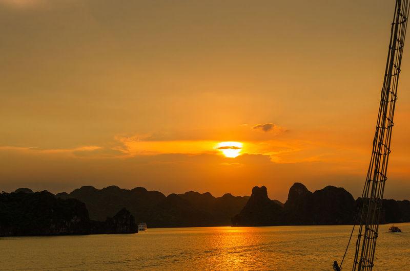 Sunset at ha long bay - vietnam