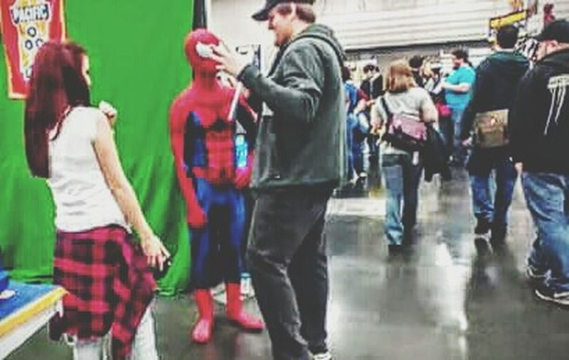 Spiderman Comiccon People Together Hanging Out Taking Photos Check This Out Marvelcomics Comiccon2016 Portland, OR Keep Portland Weird Keep Portland Wierd I❤oregon I Like My Own Pictures!✌😎 Festive Season Colour Of Life