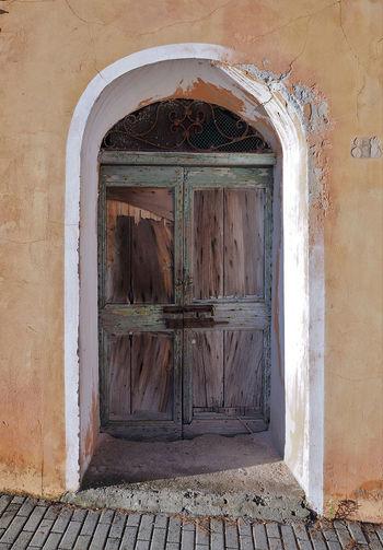 Closed door of old building