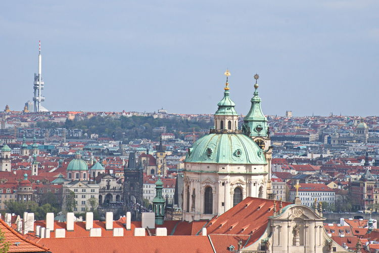Architecture Building Exterior Built Structure Religion Dome Place Of Worship Building City Sky Travel Destinations Cityscape Travel Day Outdoors TOWNSCAPE Church High Angle Roofs Red Tower Tuorism Travel Europe Prague Czech Republic