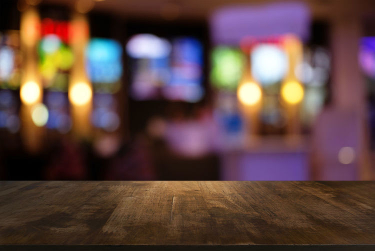Dark Night Lights Parquet Texture And Surfaces Backdrop Backgrounds Bokeh Close-up Closeup Counter Empty Focus On Foreground Illuminated Indoors  Light And Shadow Montage Night No People Restaurant Space Table Timbered Top Perspective Wood - Material Wood Table