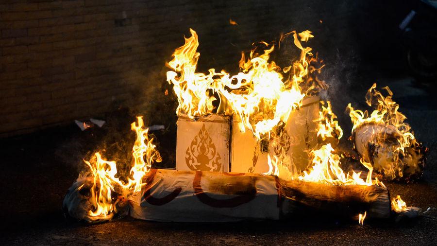 Fire burning at night