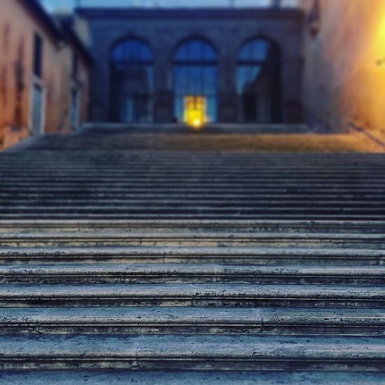 Architecture Focus On Foreground Grandebellezza Illuminated No People Outdoors Rome Selective Focus Stairs Vanishing Point
