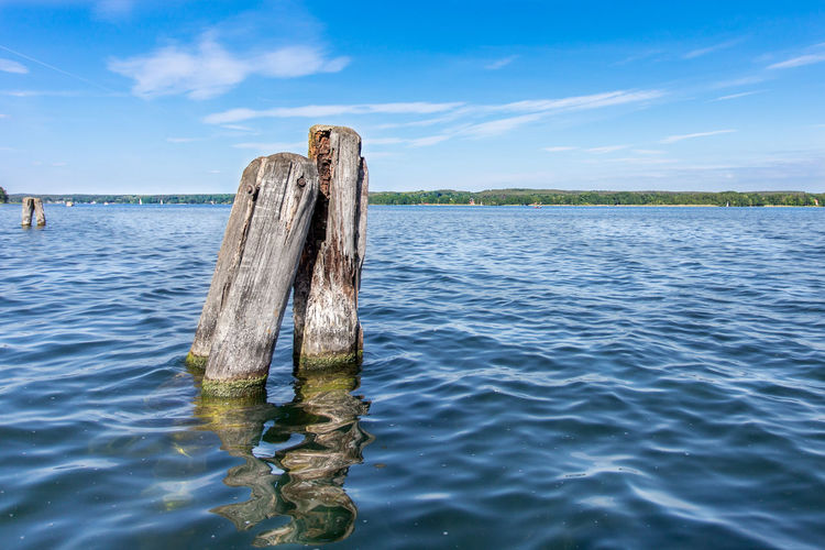 Wooden Posts In Rippled Water, Land In Background