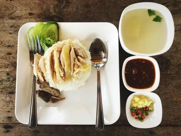 Ingredients for Thai Chicken Rice dipping sauce(Kao Mun Kai) Thai Food Good Taste Thai Food Kao Mun Kai Food And Drink Food Freshness Eating Utensil Plate Ready-to-eat Kitchen Utensil Healthy Eating