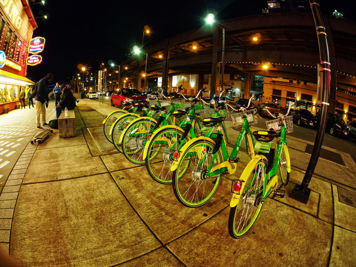 Seattle Waterfront Entertainment Fisheyelens Night Lights Night Photography Nightphotography Architecture Bicycle Bicycle Rack Bicycle Rental Bicycles Building Exterior City Cycling Fisheye Fisheye Lens Fisheye Street Photography Illuminated Land Vehicle Large Group Of People Men Mode Of Transport Multi Colored Night Night View Nightshot Outdoors People Real People Skateboard Sky Stationary Transportation