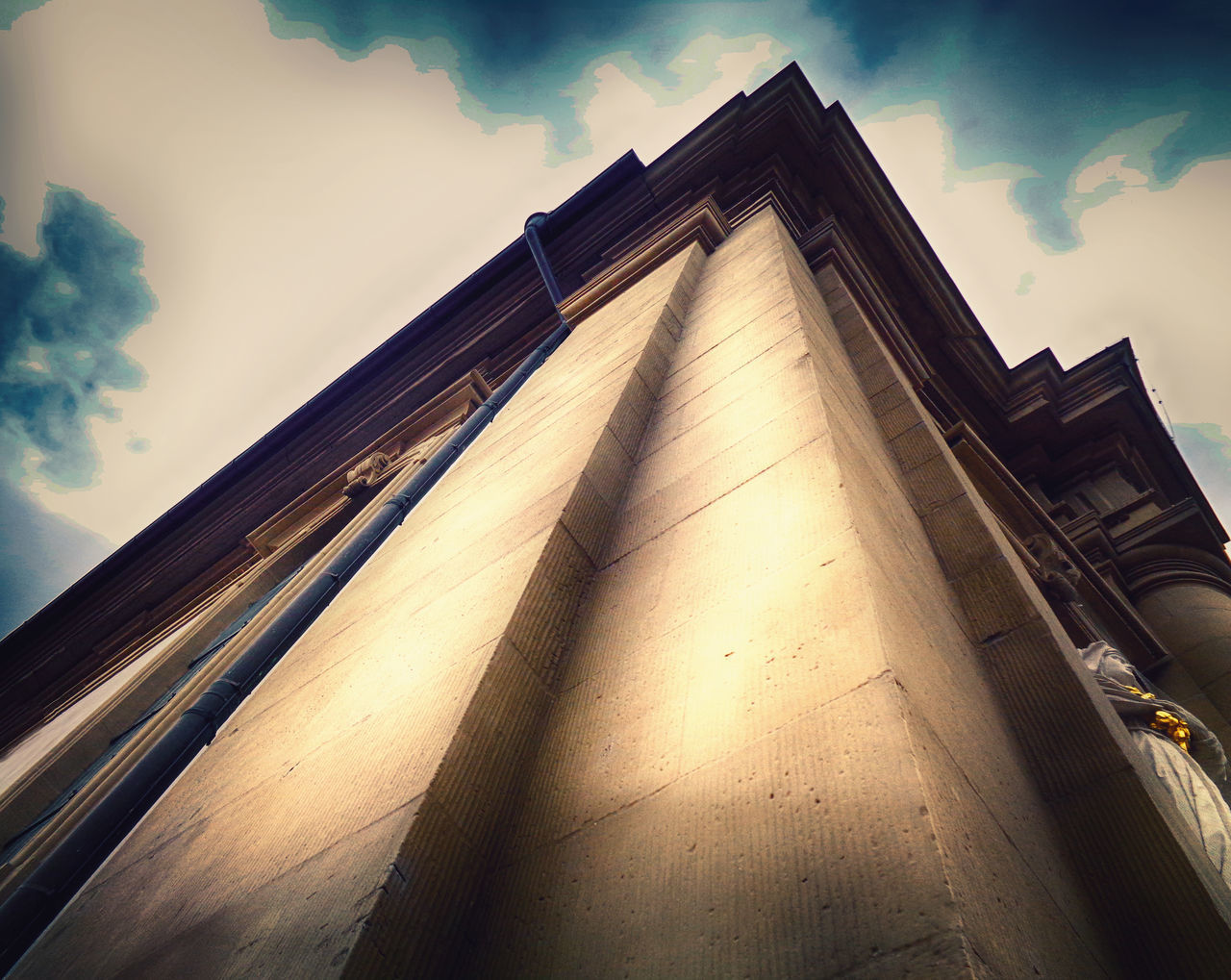 sky, architecture, built structure, low angle view, cloud - sky, building exterior, nature, no people, building, day, city, sunlight, outdoors, travel destinations, religion, travel, shadow, architectural column, belief