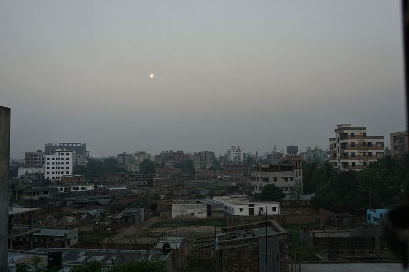 View from my Kitchen on 25.03.2016 (West) Dawn Moon At 5 In The Morning The Rise Of Nature Cloudless Sky Soft Pastel  Wake Up View Morning Light Silence Of Nature Windows Morning Sky Delicate Moment Cityscape At Dawn Landscapes With WhiteWall Landscapes Cityscape From Above Slums Sky_collection Pastel Power Soft Light Here Belongs To Me Houses Concrete Learn & Shoot: Balancing Elements Urban Nature Urban Geometry