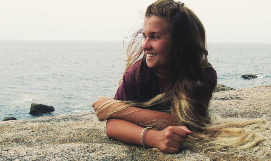 CaminodeSantiago BuenCamino Ocean Beautiful Piligrim Life Pelegrinos Hair Wind Women Girl Water Smile EyeEm Selects Water Sea Beach Sand Horizon Over Water Sky