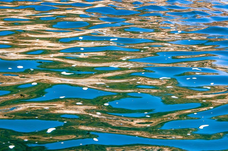abstract Water Water Reflections Floating On Water Tranquility High Angle View Day Full Frame Blue Nature Pattern