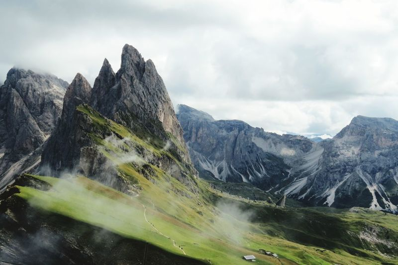 Dolomites, Italy Selva Di Valgardena Grass Fog Summit Air No People View Panorama View Summer Mountain No People Nature Views Landscape Climbing Wind Green Color Grey