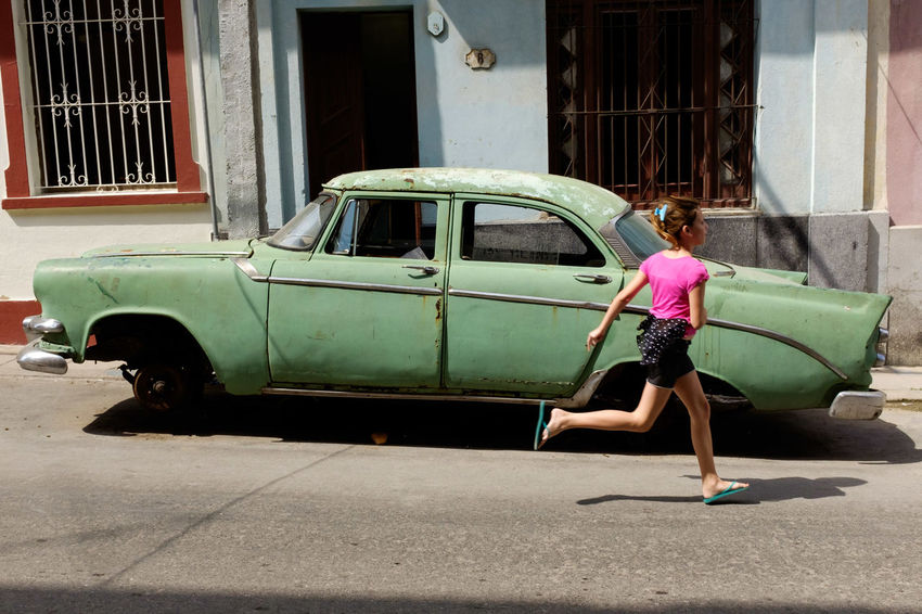 Children Running Vintage Cars Vintage Cuba Havana Streetphotography Street Photography Car Adult Full Length Building Exterior Architecture Day One Person People Outdoors City