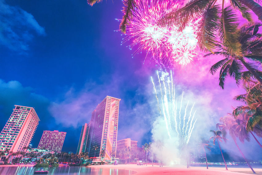 Architecture Arts Culture And Entertainment Building Exterior Built Structure Celebration City Cityscape Exploding Firework Firework - Man Made Object Firework Display Hawaii Illuminated Long Exposure Low Angle View Night No People Outdoors Sky Skyscraper Canon
