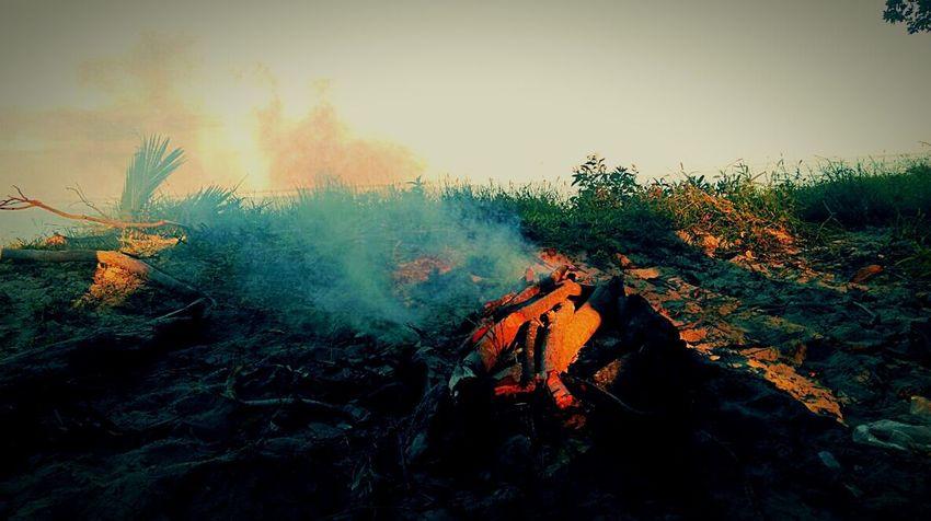 Beach Fire Camping Pacific Ocean Campfire Smoke Morning
