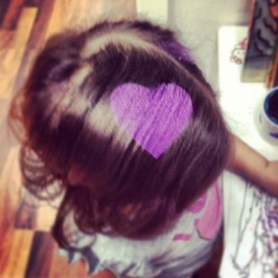First time @ the hairdresser yesterday. Got a heart and everything... :) Stenungsund Ayla  Tranquilo Happy kid purple heart