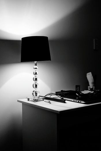 My desk No People Home Interior Blackandwhite Black & White Monochrome Light Lamp Desklamp Table
