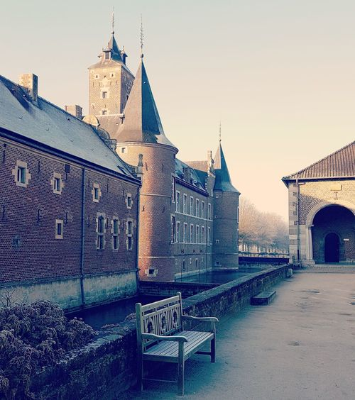 History Architecture Travel Destinations Outdoors Sky No People Building Exterior Day Water Castle Bench Park Frost Frosty Morning Round Tower Tower Moat Castle Tower Castle Moat Belgium Alden Biesen EyeEmNewHere Vintage Nostalgia Romantic Shades Of Winter