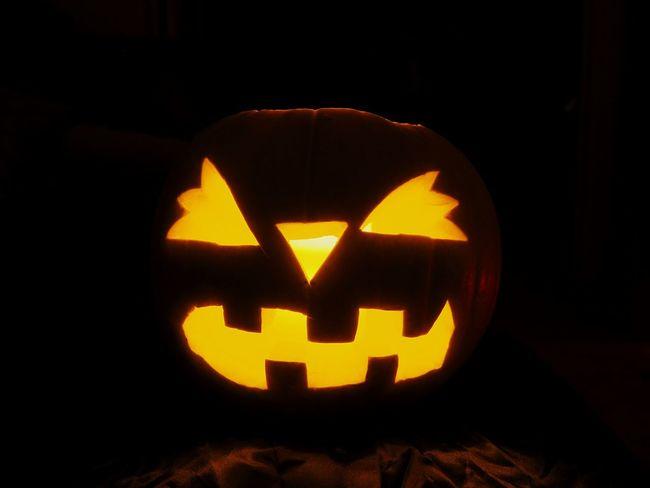 Jack o' lantern Halloween Jack O Lantern Pumpkin Black Background Anthropomorphic Face Jack O' Lantern Illuminated Celebration Spooky Holiday - Event