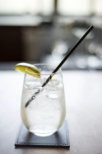 Close-up of drink served on table