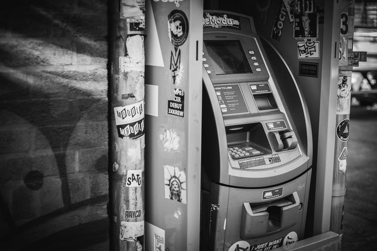 Brooklyn Graffiti Sticker Atm Banking Cash Communication High Angle View Machinery Tag Teller Machine
