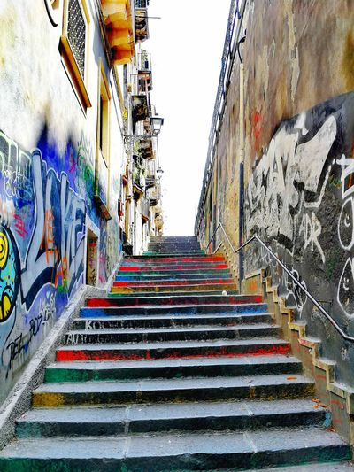 Streetphotography South Multi Colored Steps And Staircases Steps Staircase Street Art Graffiti Architecture Built Structure Spray Paint Vandalism