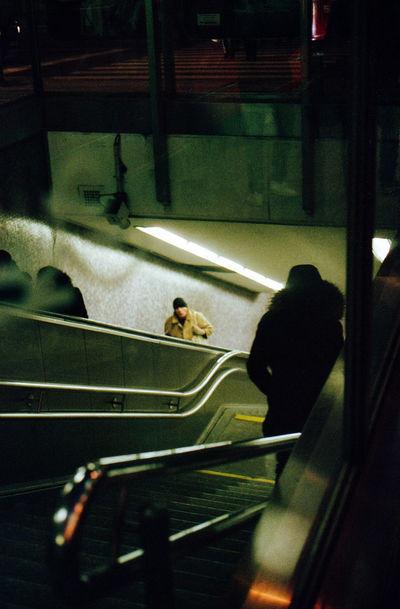 Film in Vienna / AE-1/ Fuji Superia 400 Lowlight EyeEm Best Shots Eye4photography  EyeEm Gallery Shootermag Analogue Photography Film 35mm Men City Railroad Station Platform Light Trail Urban Scene Public Transportation Metro Train