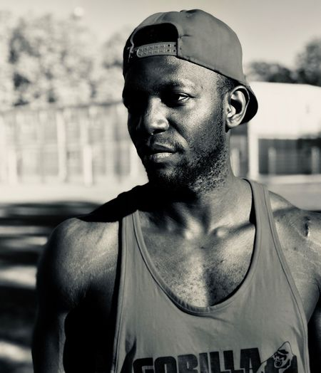 Early morning workout Personal Trainer Workout Summer Gym EyeEm Selects One Person Portrait Headshot Fashion Focus On Foreground Lifestyles Real People Front View Young Adult Day Looking Away Young Men Outdoors Close-up Adult Men Muscular Build Strength Sport