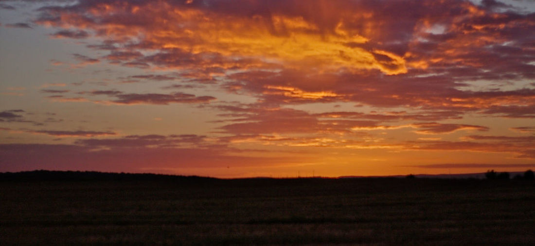 Beauty In Nature Field Landscape Nature No People Orange Color Outdoors Silhouette Sky Sunset