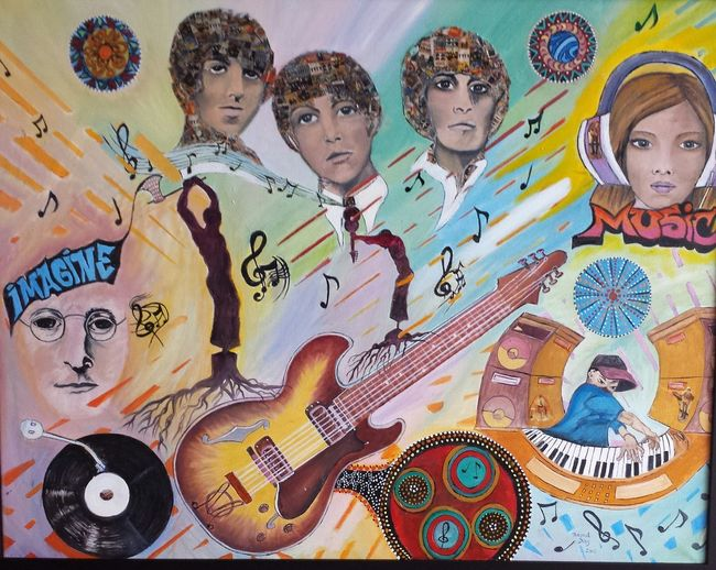 My Painting . Music Beatles... Oil Painting ...mixed Media Colour Music Is Life
