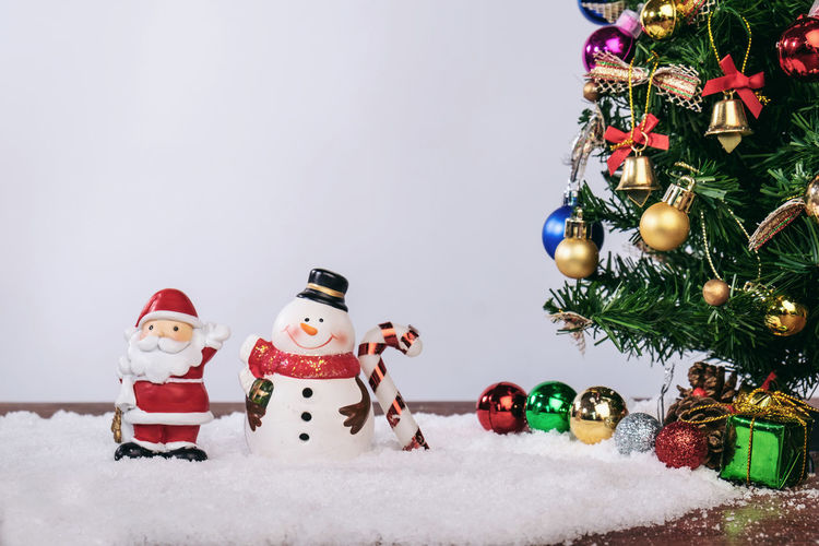 Happiness Holiday Santa Claus Weekend Winter Celebration Christmas Christmas Decoration Christmas Ornament christmas tree Cold Temperature Decoration Enjoyment Festival Holiday Holiday - Event Human Representation Indoors  No People Representation Snow Snowman Toy Tree Winter