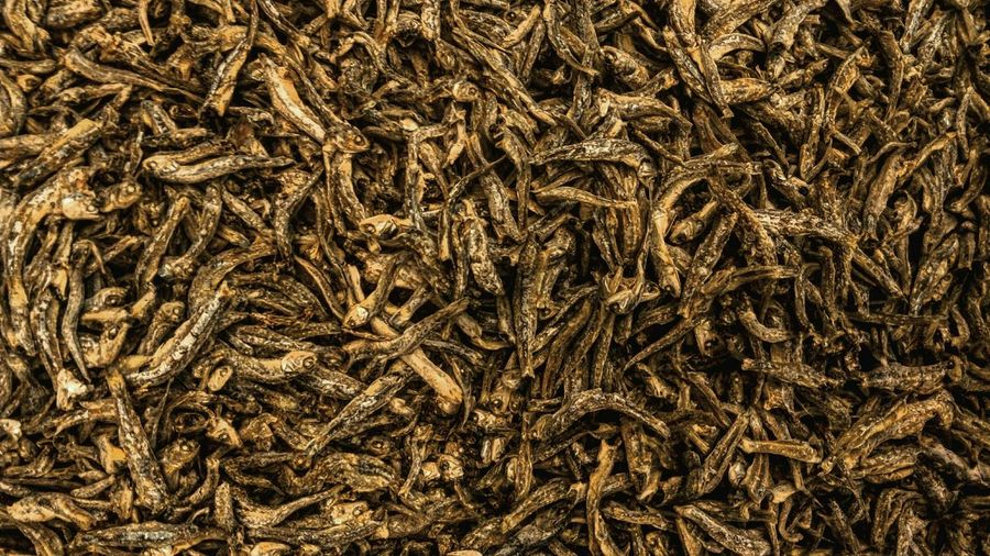 Full frame shot of dried fish for sale at market stall
