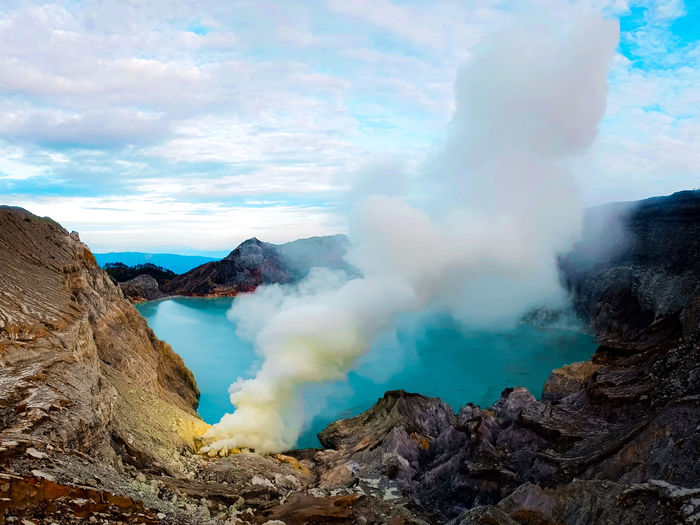 Smoke emitting from volcanic mountain.. amazing...