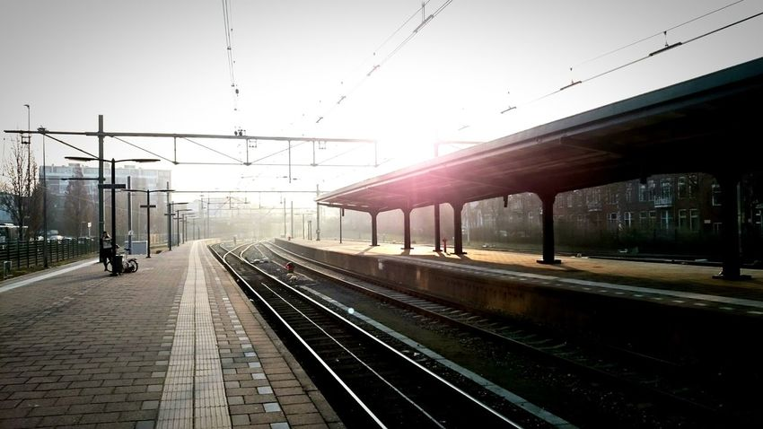 Urban 4 Filter, Early Morning On My Way To Work. Quiet Moments with a Sunspot just before the train arrives
